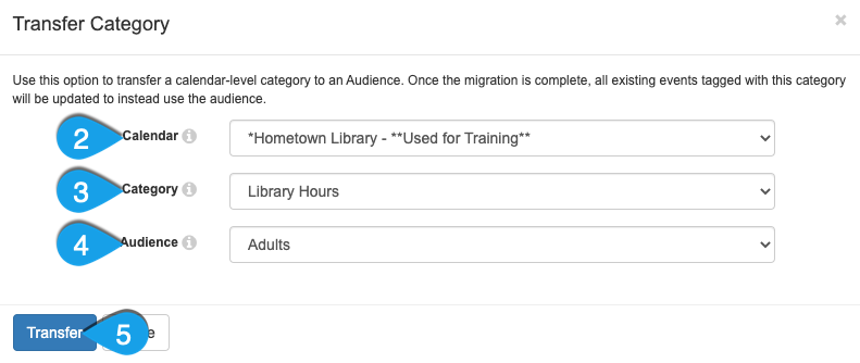 Transferring a category to an audience type