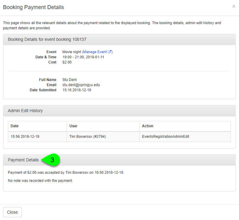 The Booking Payment Details window showing payment details