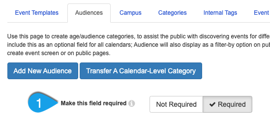 The Make this Field Required option under the Audiences tab