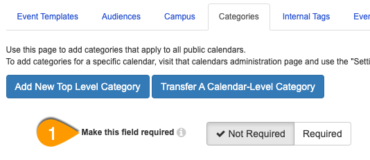 The Make this field required option under the Categories tab