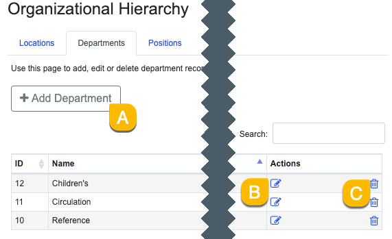 Options under the Departments tab