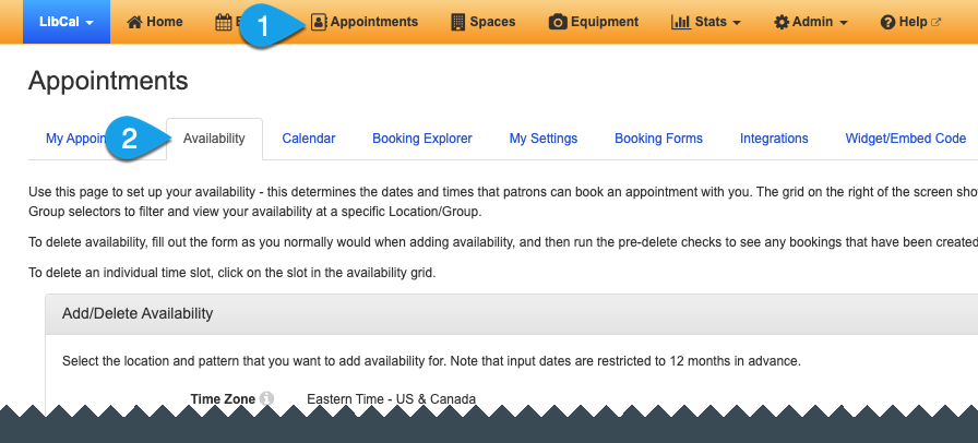 Navigating to the Availability tab on the Appointments page