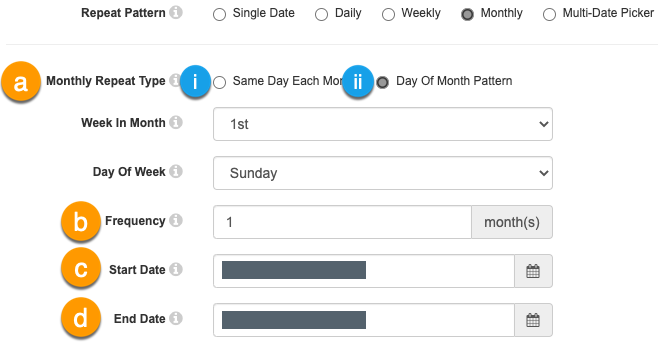 Monthly repeating options