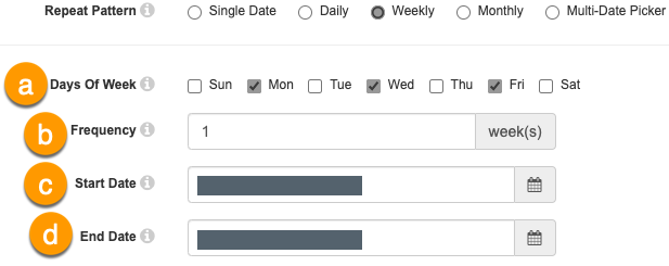 Weekly repeating options