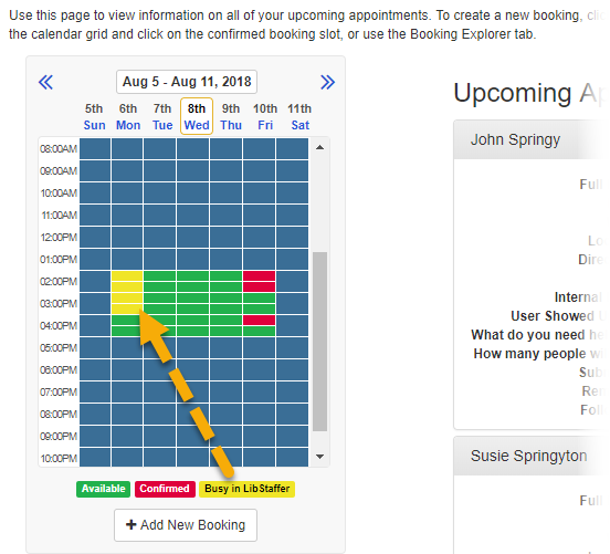 Example of availability times showing as busy in LibStaffer