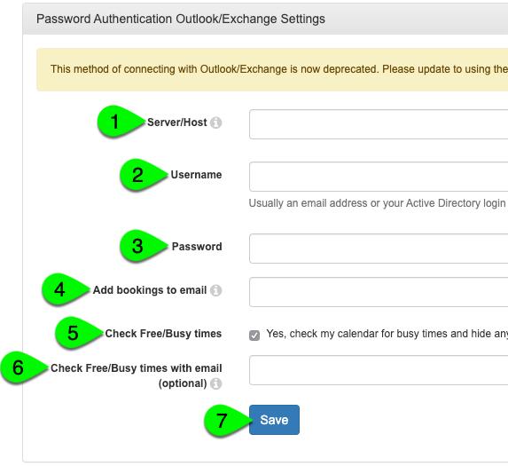 The Outlook/Exchange Settings panel
