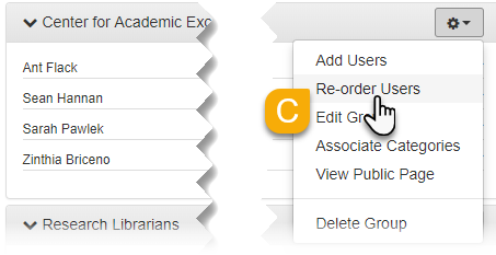 The Re-order Users option in a group's cog dropdown