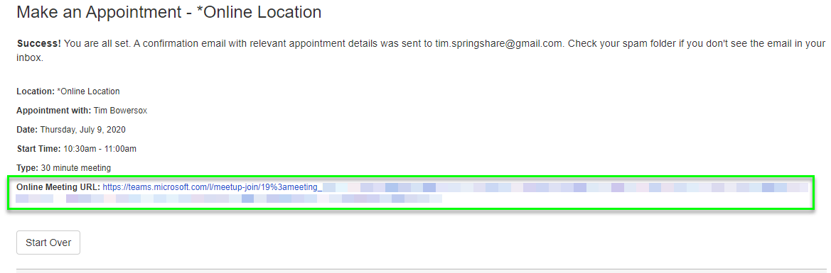 Example of the confirmation page for an online appointment