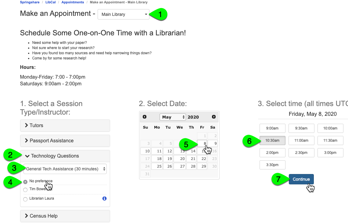 Example of selecting a booking time from the public page