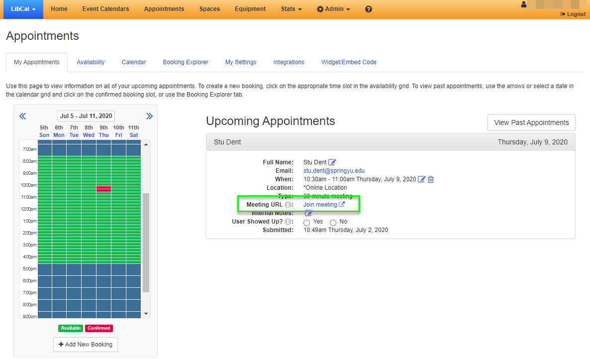 Example of the join meeting link in the upcoming appointments column