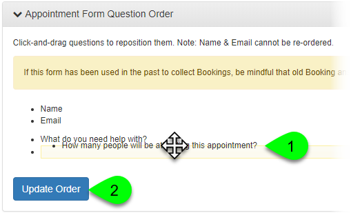 The Appointment Form Question Order panel