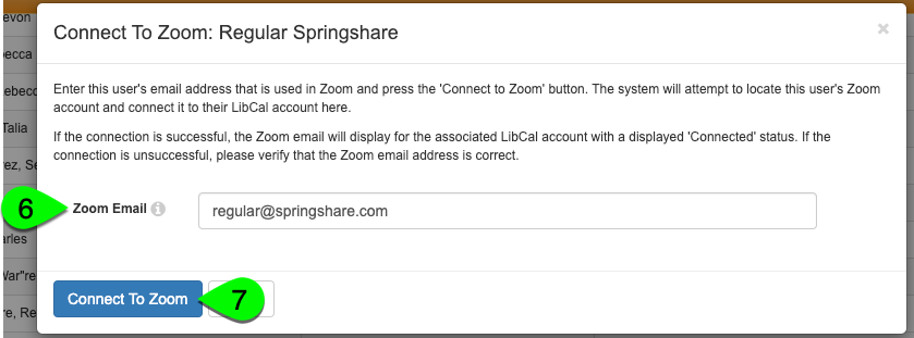 The Connect to Zoom modal for an account
