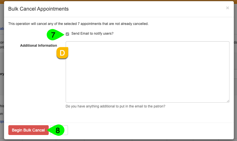 Options to email users on the Bulk Cancel Appointments modal