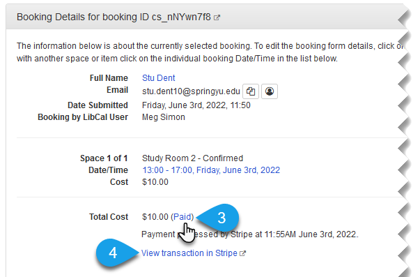 The Paid link in the Booking Details panel