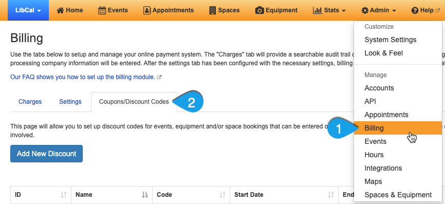 Navigating to the Coupons/Discount Codes page