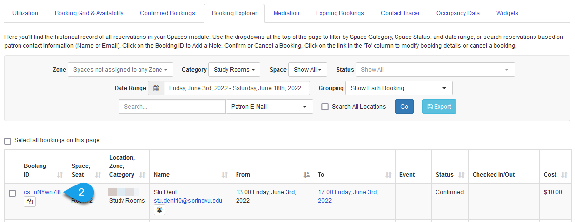 The Booking ID column of the Booking Explorer table