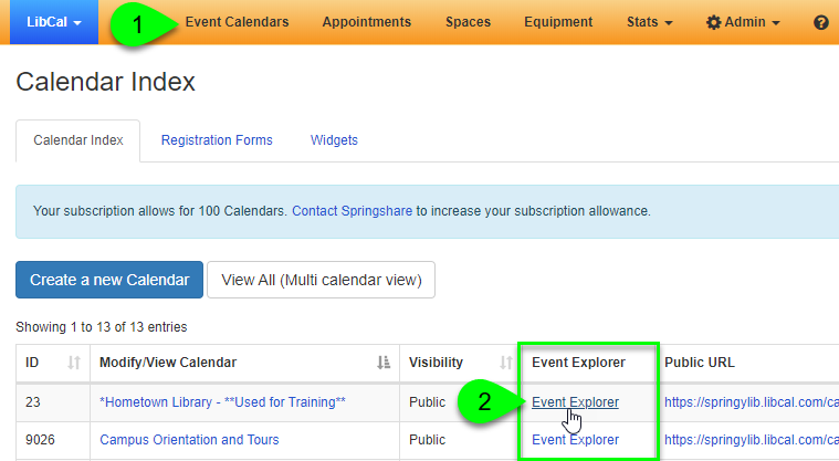 The Event Explorer link on the Calendar Index page