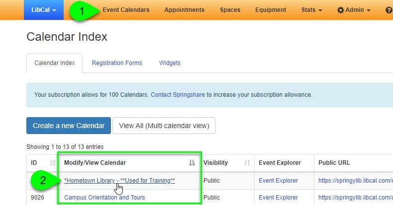 Clicking the name of a calendar