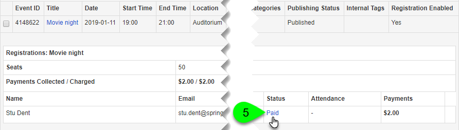 Clicking a registration's link in the Status column
