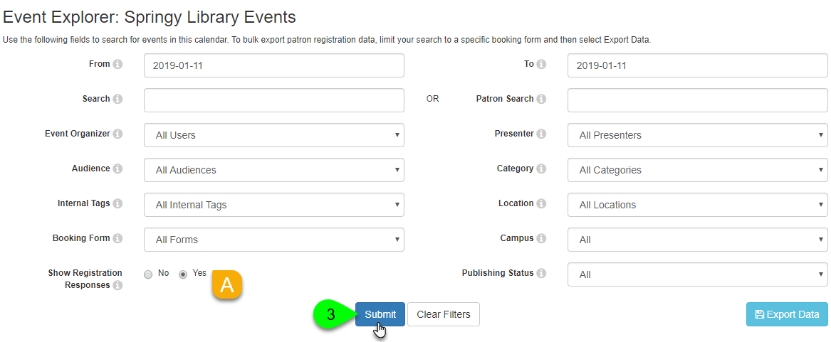 Options for searching the event explorer