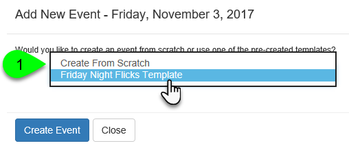 Example of creating an event from a template