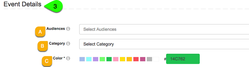 Example of modifying an events audience, category and color