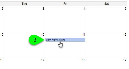 Clicking on an event in the calendar