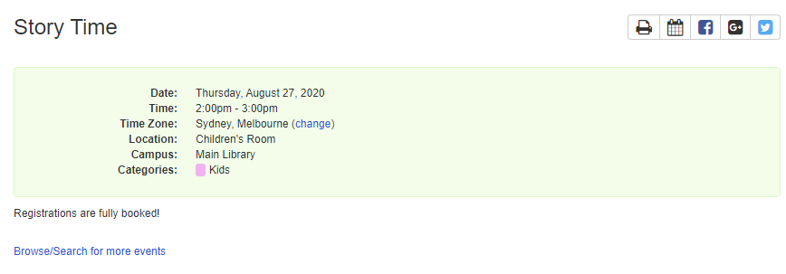 Example of an event page when it's fully booked