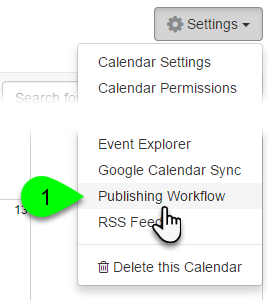 Example of navigating the Publishing Workflow page