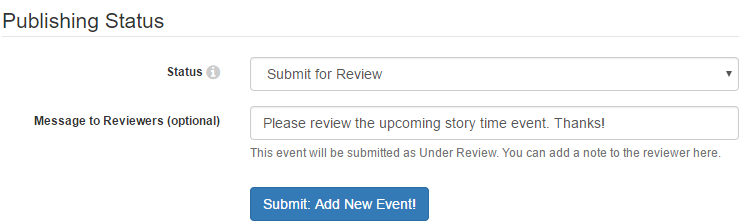 Example of submitting an event for review