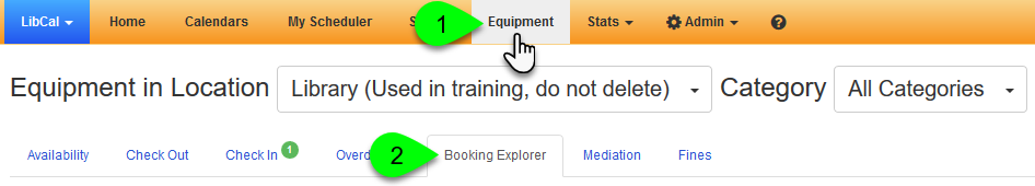 Navigating to the Equipment Booking Explorer