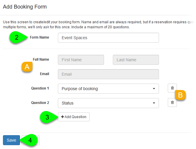 Example of adding a booking form