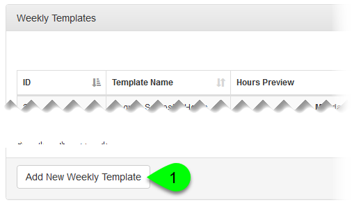Add New Weekly Template button