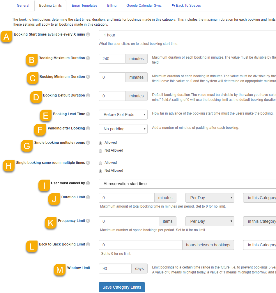 Booking Limits settings