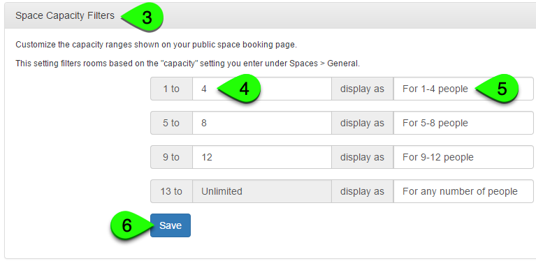 Example of customizing the space capacity filters