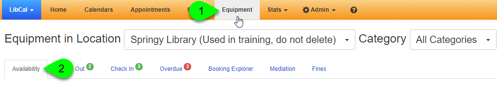 Navigating to the Equipment Availability page