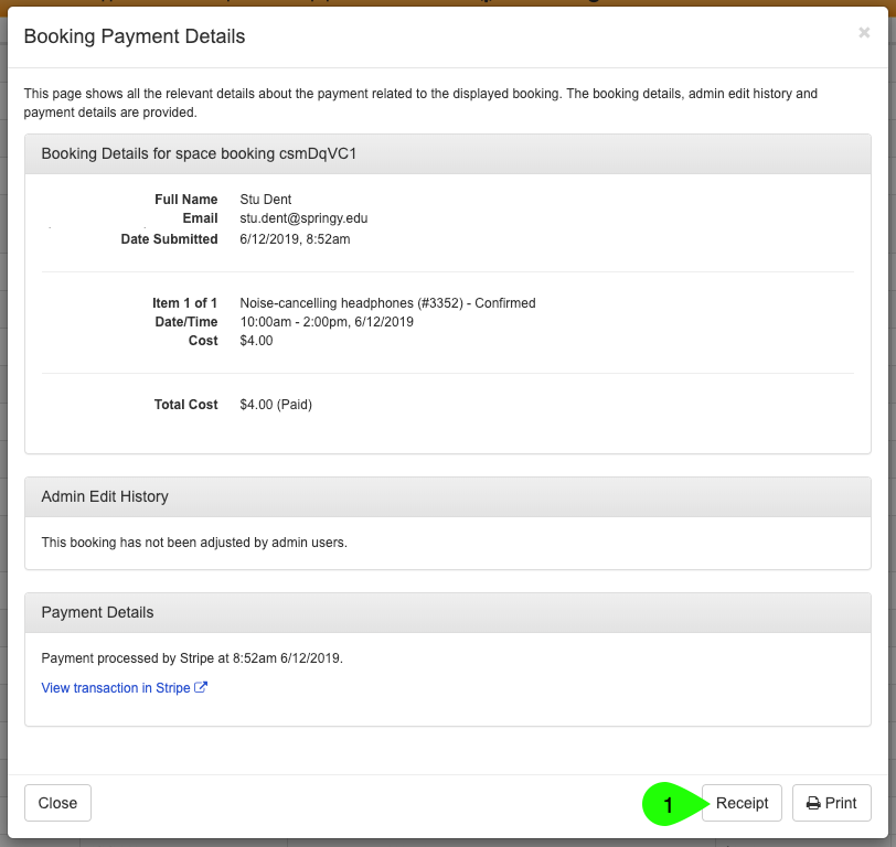 The Booking Payment Details window highlighting the Receipt button