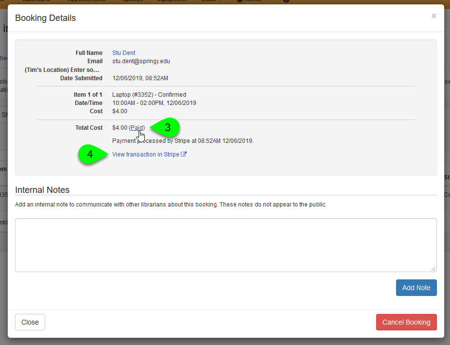 The Booking Details modal showing transaction details