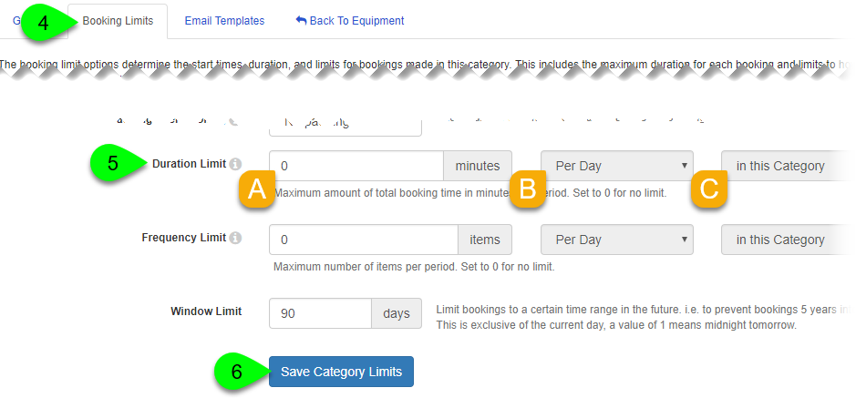 The Duration Limit options and Save Category Limits button