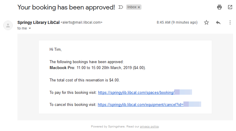 The online payment link in a Mediated Approved email