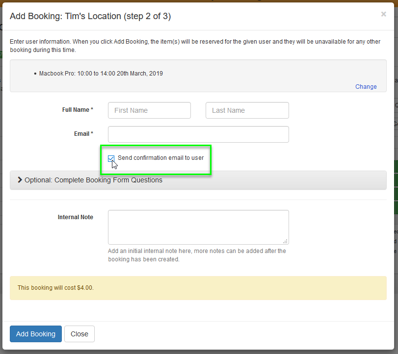 The Send Confirmation Email to User checkbox