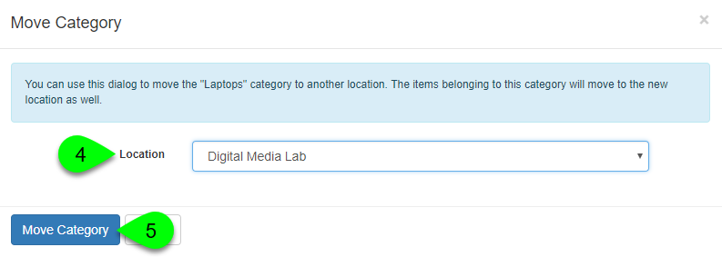 Selecting a new location in the Move Category window