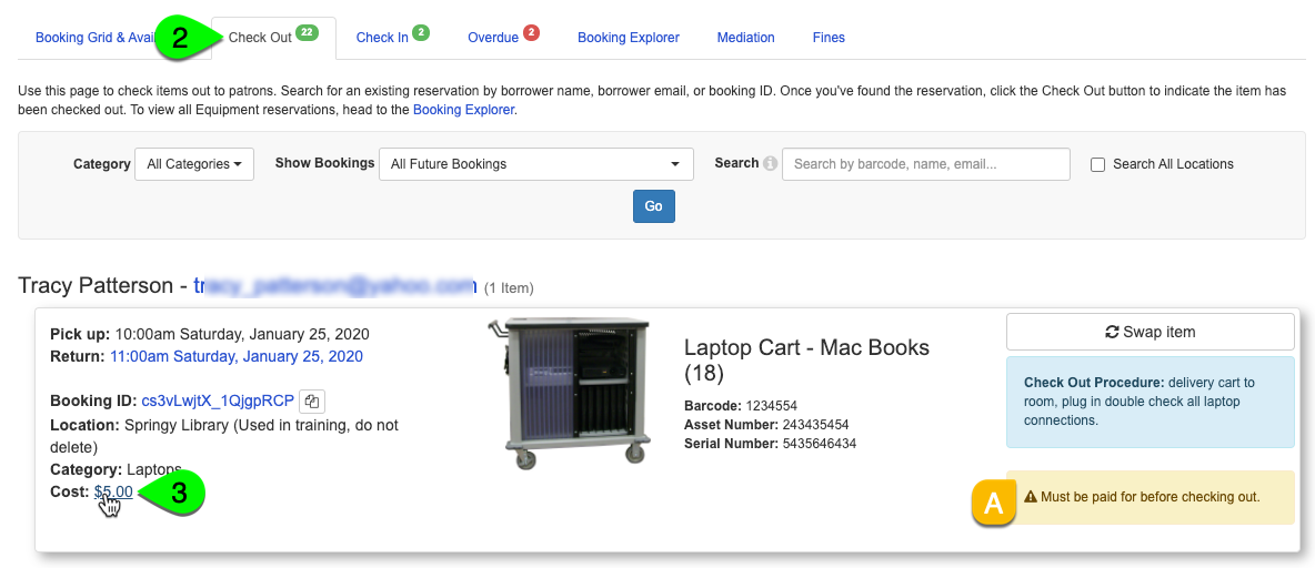 A booked item's cost link under the Check Out tab