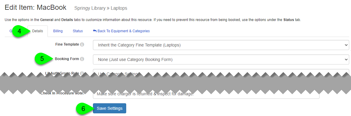 The Booking Form field and Save Settings button