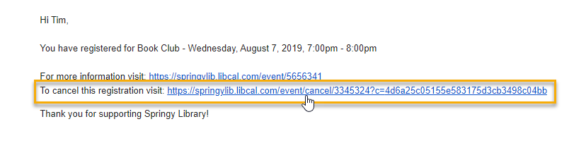 Example confirmation email showing the Cancel Registration link