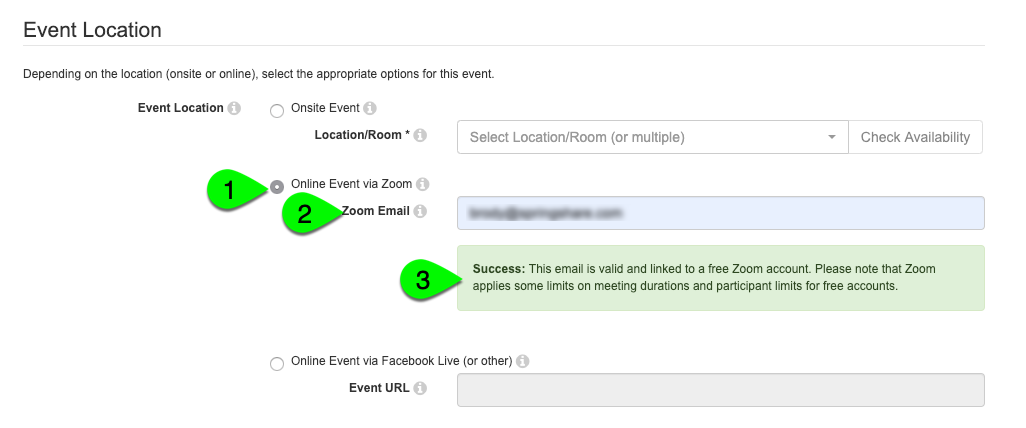 The Online Event via Zoom option for event locations