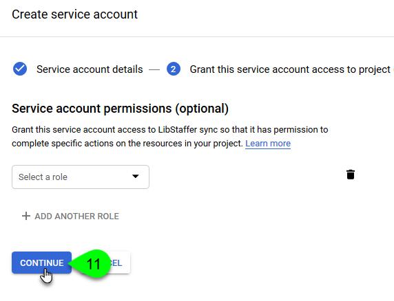 The Continue button under Service Account Permissions
