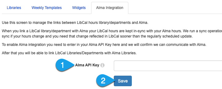 the Alma API Key field