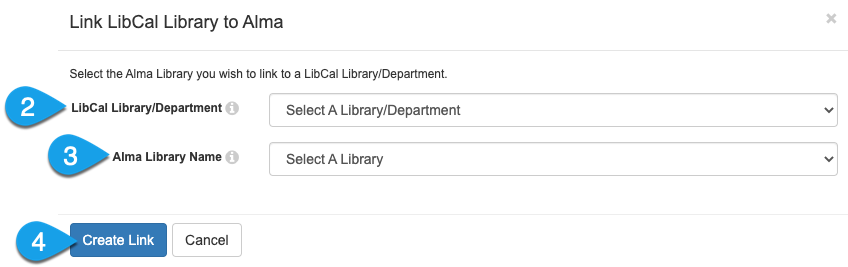 the Link LibCal Library to Alma modal window