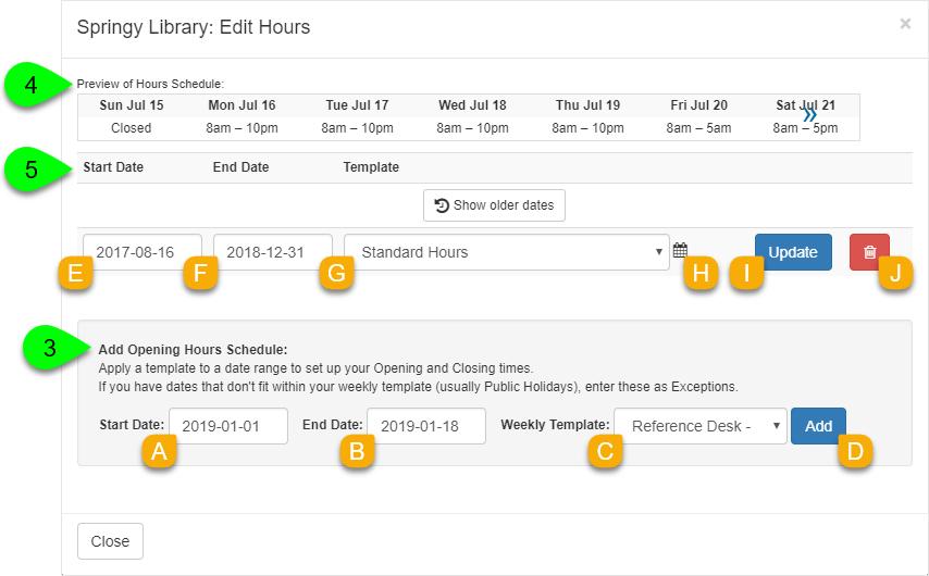 The Edit Hours window